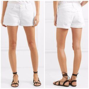 Frame Le Cutoff White Denim Distressed Shorts 28